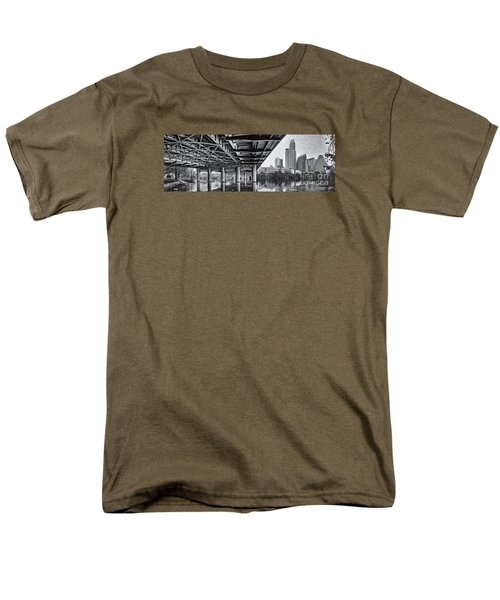 Black And White Panorama Of Downtown Austin Skyline Under The Bridge - Austin Texas  Men's T-Shirt  (Regular Fit) by Silvio Ligutti