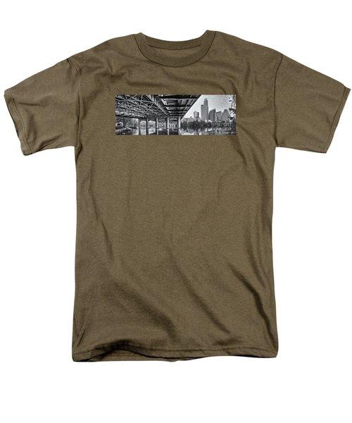 Black And White Panorama Of Downtown Austin Skyline Under The Bridge - Austin Texas  Men's T-Shirt  (Regular Fit)