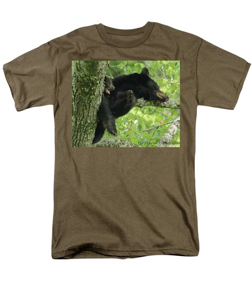 Men's T-Shirt  (Regular Fit) featuring the photograph Black Bear In Tree With Cub by Coby Cooper
