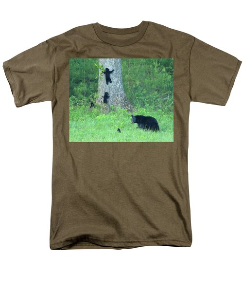 Men's T-Shirt  (Regular Fit) featuring the photograph Black Bear Sow And Four Cubs by Coby Cooper