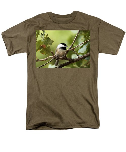 Black Capped Chickadee On Branch Men's T-Shirt  (Regular Fit) by Sheila Brown