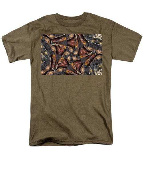 Men's T-Shirt  (Regular Fit) featuring the photograph Black Granite Star Kaleido by Peter J Sucy