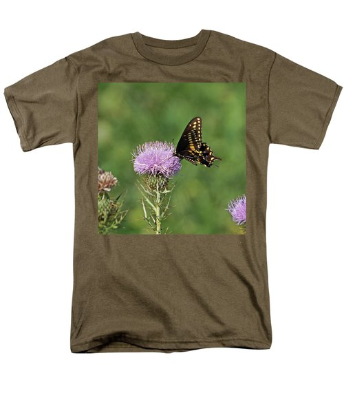 Men's T-Shirt  (Regular Fit) featuring the photograph Black Swallowtail Butterfly by Sandy Keeton