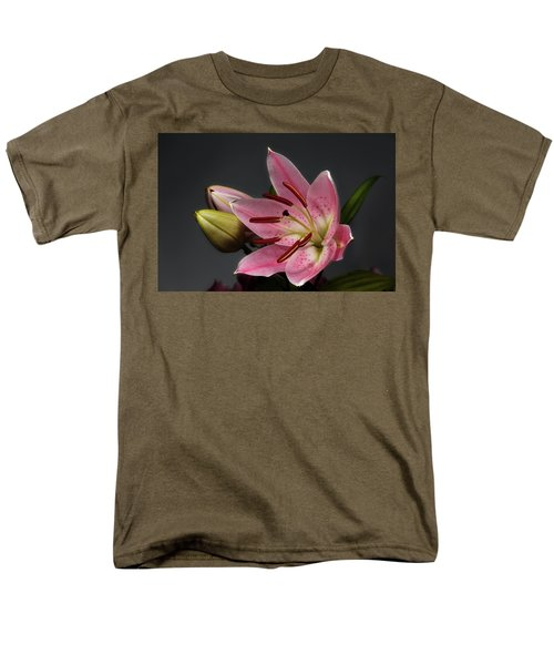 Blossoming Pink Lily Flower On Dark Background Men's T-Shirt  (Regular Fit) by Sergey Taran