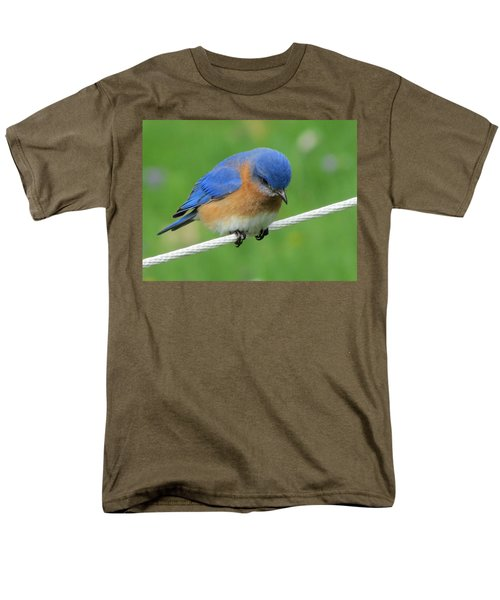Men's T-Shirt  (Regular Fit) featuring the painting Blue Bird On Clothesline by Betty Pieper