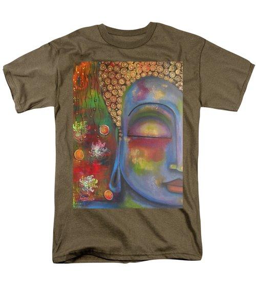Buddha In Blue Meditating  Men's T-Shirt  (Regular Fit) by Prerna Poojara