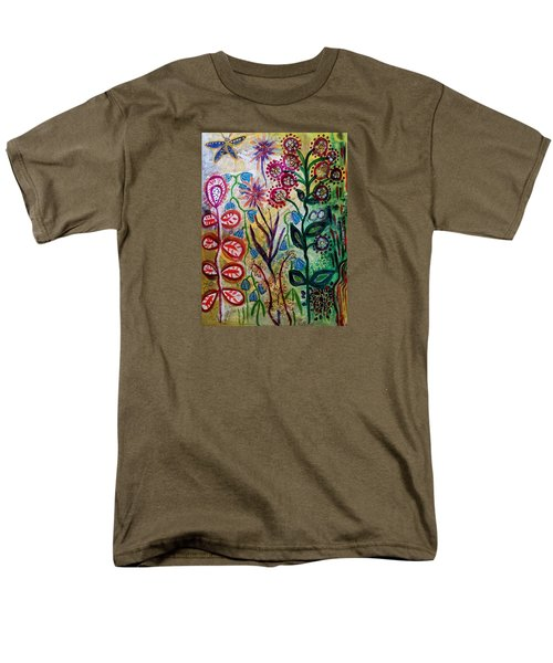 Men's T-Shirt  (Regular Fit) featuring the mixed media Blue Bug In The Magic Garden by Mimulux patricia no No