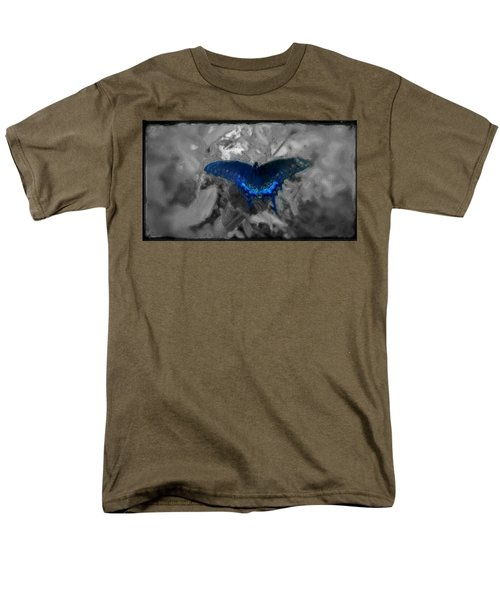 Men's T-Shirt  (Regular Fit) featuring the digital art Blue Butterfly In Charcoal And Vibrant Aqua Paint by MendyZ