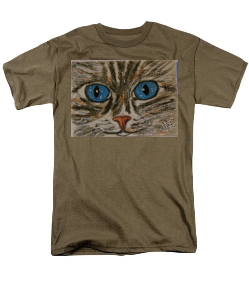 Men's T-Shirt  (Regular Fit) featuring the painting Blue Eyed Tiger Cat by Kathy Marrs Chandler