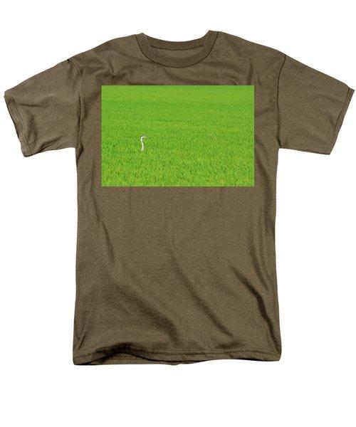 Blue Heron In Field Men's T-Shirt  (Regular Fit) by Josephine Buschman