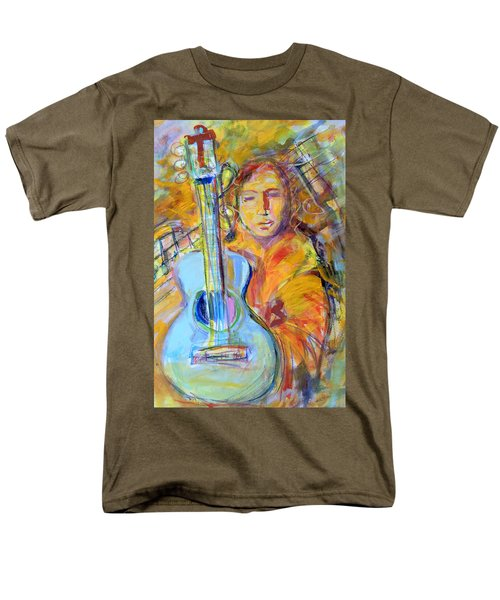 Men's T-Shirt  (Regular Fit) featuring the painting Blue Quitar by Mary Schiros