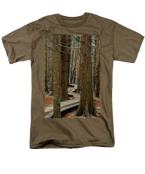 Men's T-Shirt  (Regular Fit) featuring the photograph Boardwalk Among Trees by Scott Holmes