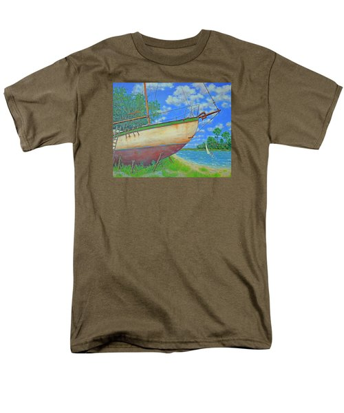 Men's T-Shirt  (Regular Fit) featuring the painting Boatyard On Shem Creek by Dwain Ray