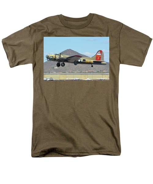 Men's T-Shirt  (Regular Fit) featuring the photograph Boeing B-17g Flying Fortress N93012 Nine-o-nine Deer Valley Arizona April 13 2016 by Brian Lockett