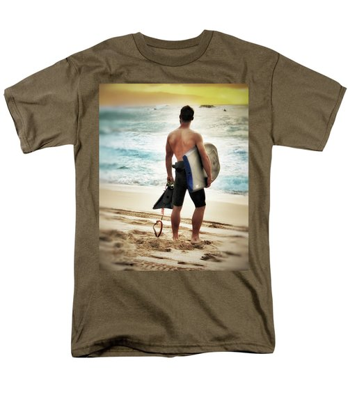 Men's T-Shirt  (Regular Fit) featuring the photograph Boggie Boarder At Waimea Bay by Jim Albritton