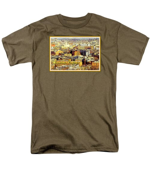Men's T-Shirt  (Regular Fit) featuring the digital art Boston Beantown Rooftops Digital Art by A Gurmankin