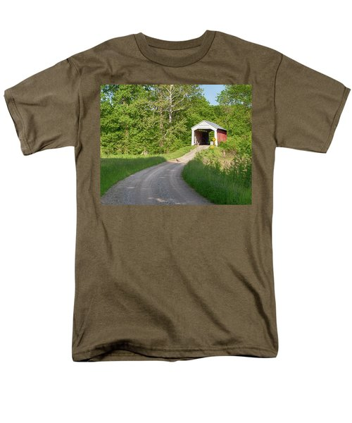 Men's T-Shirt  (Regular Fit) featuring the photograph Bowser Ford Covered Bridge Lane by Harold Rau
