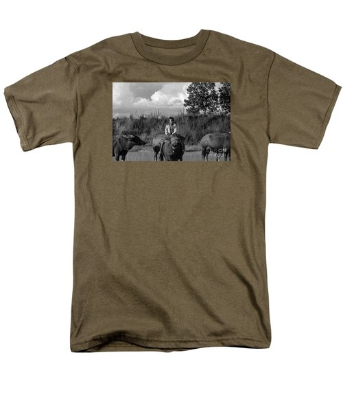 Men's T-Shirt  (Regular Fit) featuring the photograph Boy And Cows by Arik S Mintorogo