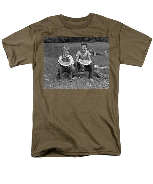 Boys Eating Watermelons, C.1940s Men's T-Shirt  (Regular Fit) by H. Armstrong Roberts/ClassicStock