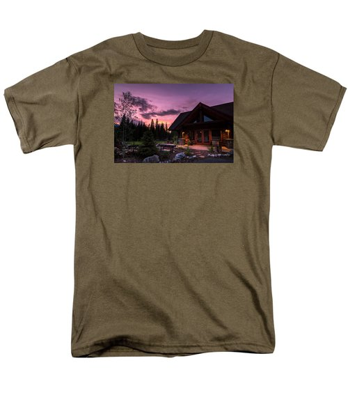 Breck Nordic Lodge Sunset Men's T-Shirt  (Regular Fit) by Michael J Bauer