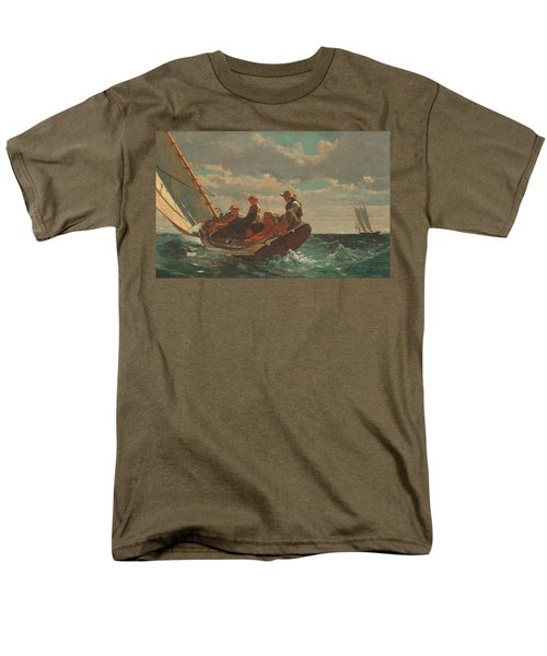 Men's T-Shirt  (Regular Fit) featuring the painting Breezing Up A Fair Wind - 1876 by Winslow Homer