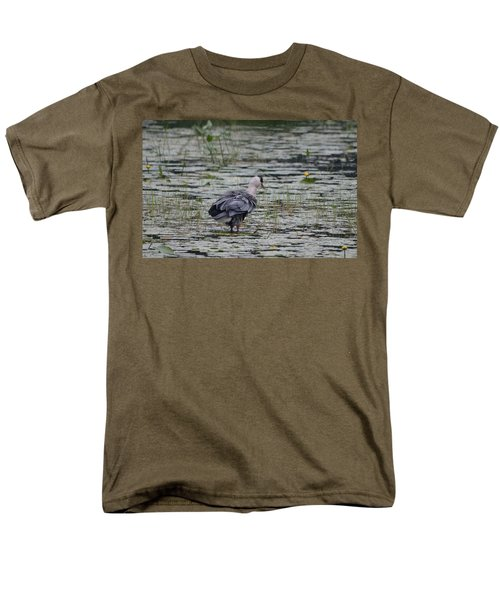 Breezy Blue- Great Blue Heron Men's T-Shirt  (Regular Fit) by David Porteus