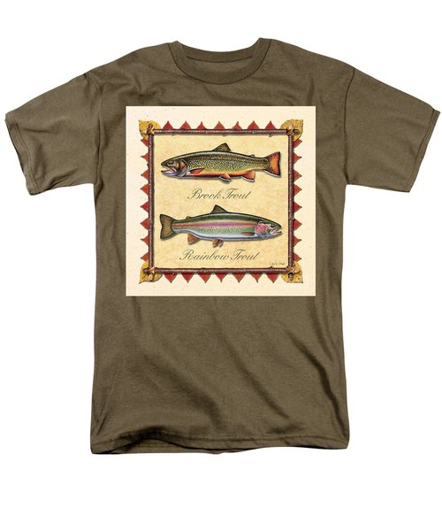 Men's T-Shirt  (Regular Fit) featuring the painting Brook And Rainbow Trout Creme by JQ Licensing
