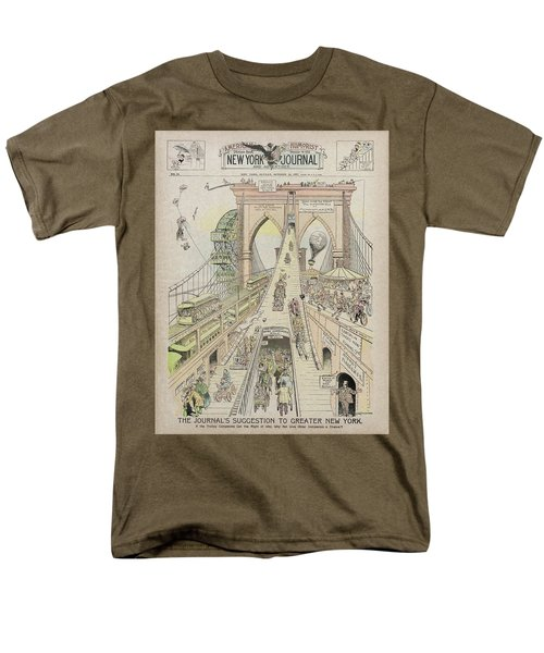 Men's T-Shirt  (Regular Fit) featuring the photograph Brooklyn Bridge Trolley Right Of Way Controversy 1897 by Daniel Hagerman