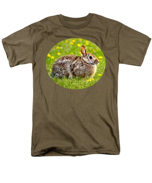 Brown Bunny In Green Grass Men's T-Shirt  (Regular Fit) by Christina Rollo