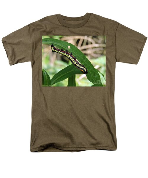 Men's T-Shirt  (Regular Fit) featuring the photograph Brown Hooded Owlet Moth Larva  by Gena Weiser