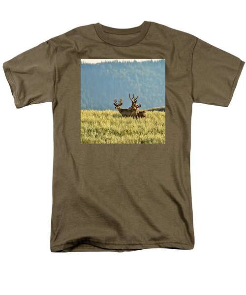 Buck Mule Deer In Velvet Men's T-Shirt  (Regular Fit) by Daniel Hebard