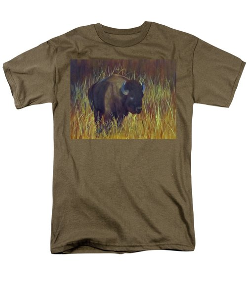 Men's T-Shirt  (Regular Fit) featuring the painting Buffalo Grazing by Roseann Gilmore