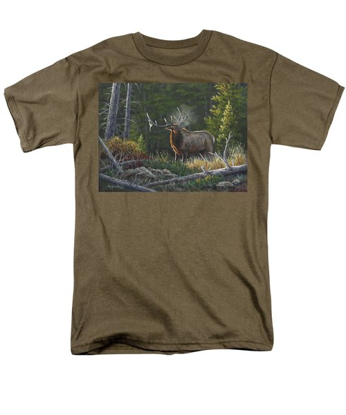 Men's T-Shirt  (Regular Fit) featuring the painting Bugling Bull by Kim Lockman