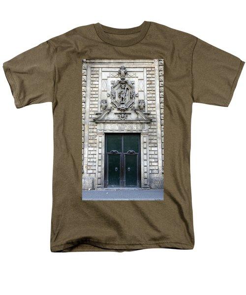Building Artwork And Old Door In Barcelona Men's T-Shirt  (Regular Fit) by Richard Rosenshein