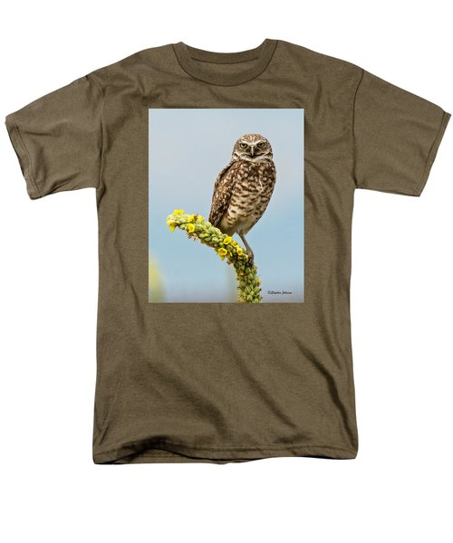 Burrowing Owl On Mullein Plant Men's T-Shirt  (Regular Fit) by Stephen  Johnson