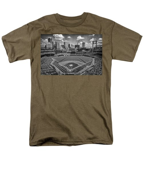 Busch Stadium St. Louis Cardinals Black White Ballpark Village Men's T-Shirt  (Regular Fit) by David Haskett