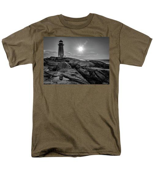 Bw Of Iconic Lighthouse At Peggys Cove  Men's T-Shirt  (Regular Fit) by Ken Morris