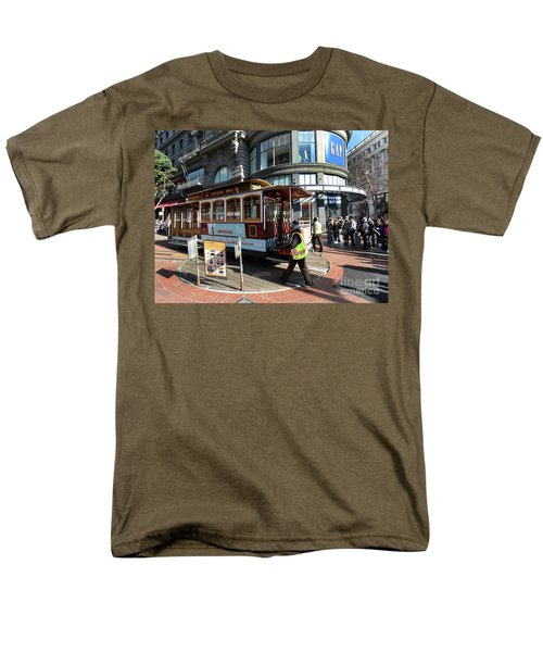 Men's T-Shirt  (Regular Fit) featuring the photograph Cable Car Union Square Stop by Steven Spak