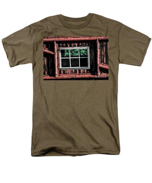 Men's T-Shirt  (Regular Fit) featuring the photograph Caboose Window by Brad Allen Fine Art