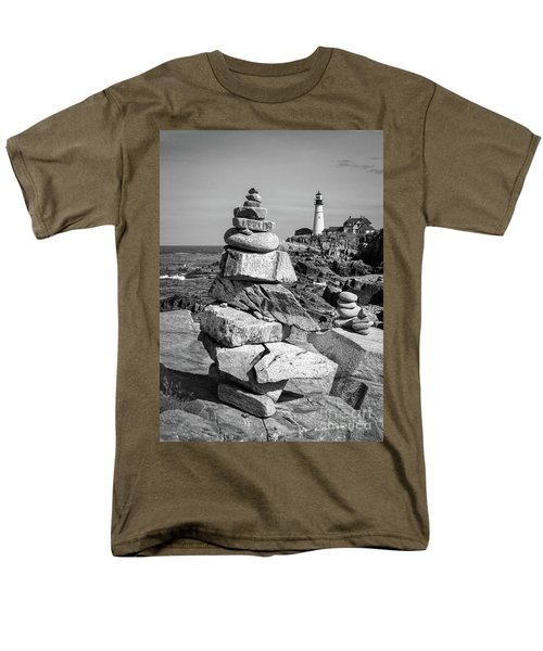 Men's T-Shirt  (Regular Fit) featuring the photograph Cairn And Lighthouse  -56052-bw by John Bald