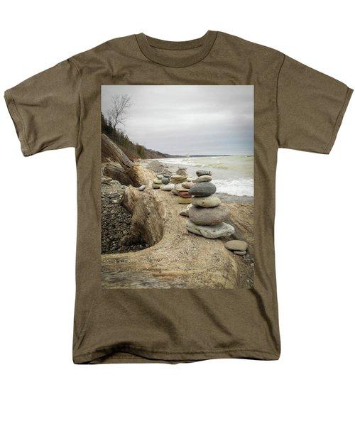 Cairn On The Beach Men's T-Shirt  (Regular Fit) by Kimberly Mackowski