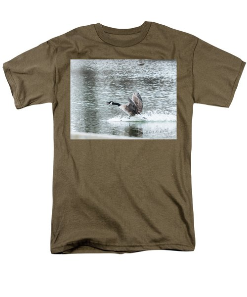 Men's T-Shirt  (Regular Fit) featuring the photograph Canada Goose Landing 2 by Edward Peterson