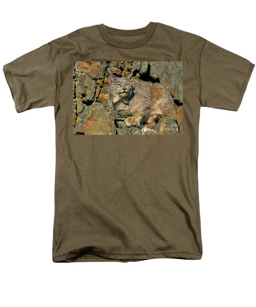 Men's T-Shirt  (Regular Fit) featuring the photograph Canadian Lynx On Lichen-covered Cliff Endangered Species by Dave Welling