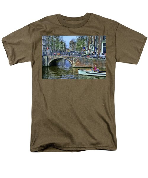 Men's T-Shirt  (Regular Fit) featuring the photograph Amsterdam Canal Scene 3 by Allen Beatty