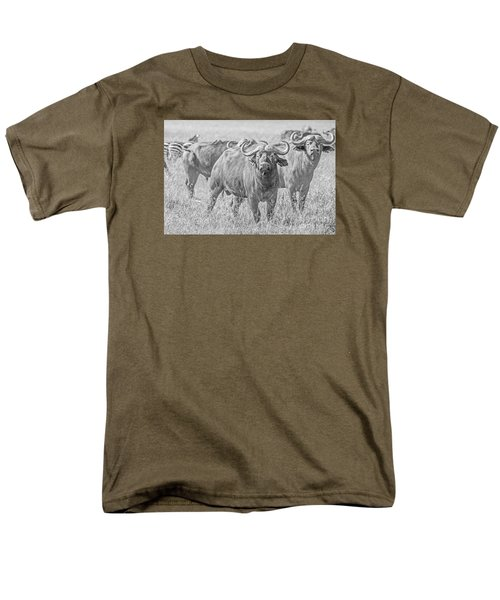 Men's T-Shirt  (Regular Fit) featuring the photograph Cape Buffalos In Serengeti by Pravine Chester