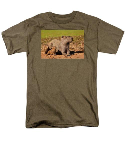 Capybara Family Enjoying Sunset Men's T-Shirt  (Regular Fit) by Aivar Mikko