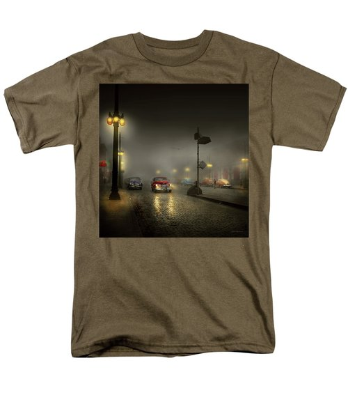 Men's T-Shirt  (Regular Fit) featuring the photograph Car - Down A Lonely Road 1940 by Mike Savad