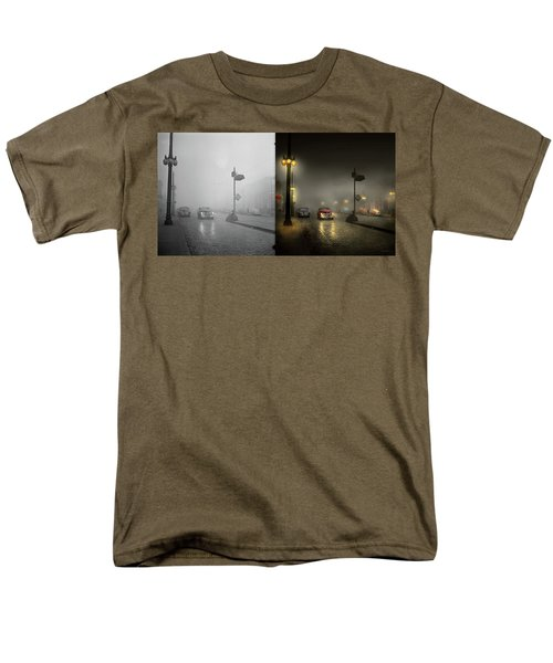 Men's T-Shirt  (Regular Fit) featuring the photograph Car - Down A Lonely Road 1940 - Side By Side by Mike Savad
