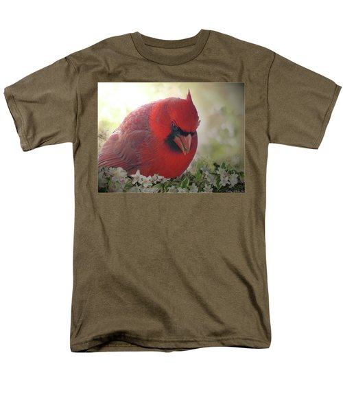 Men's T-Shirt  (Regular Fit) featuring the photograph Cardinal In Flowers by Debbie Portwood