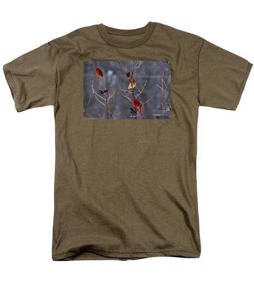 Men's T-Shirt  (Regular Fit) featuring the photograph Cardinal Trio by Mark McReynolds